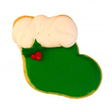 Decorated Christmas Cookie- Green Stocking